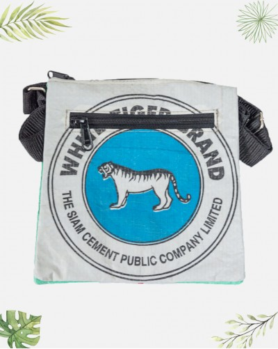Pochette Recyclée Tigre Bleu